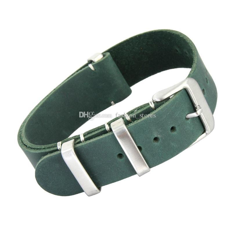 20mm 22mm Genuine Leather Nato Strap Watch Bands For Most Watches with Steel Rings
