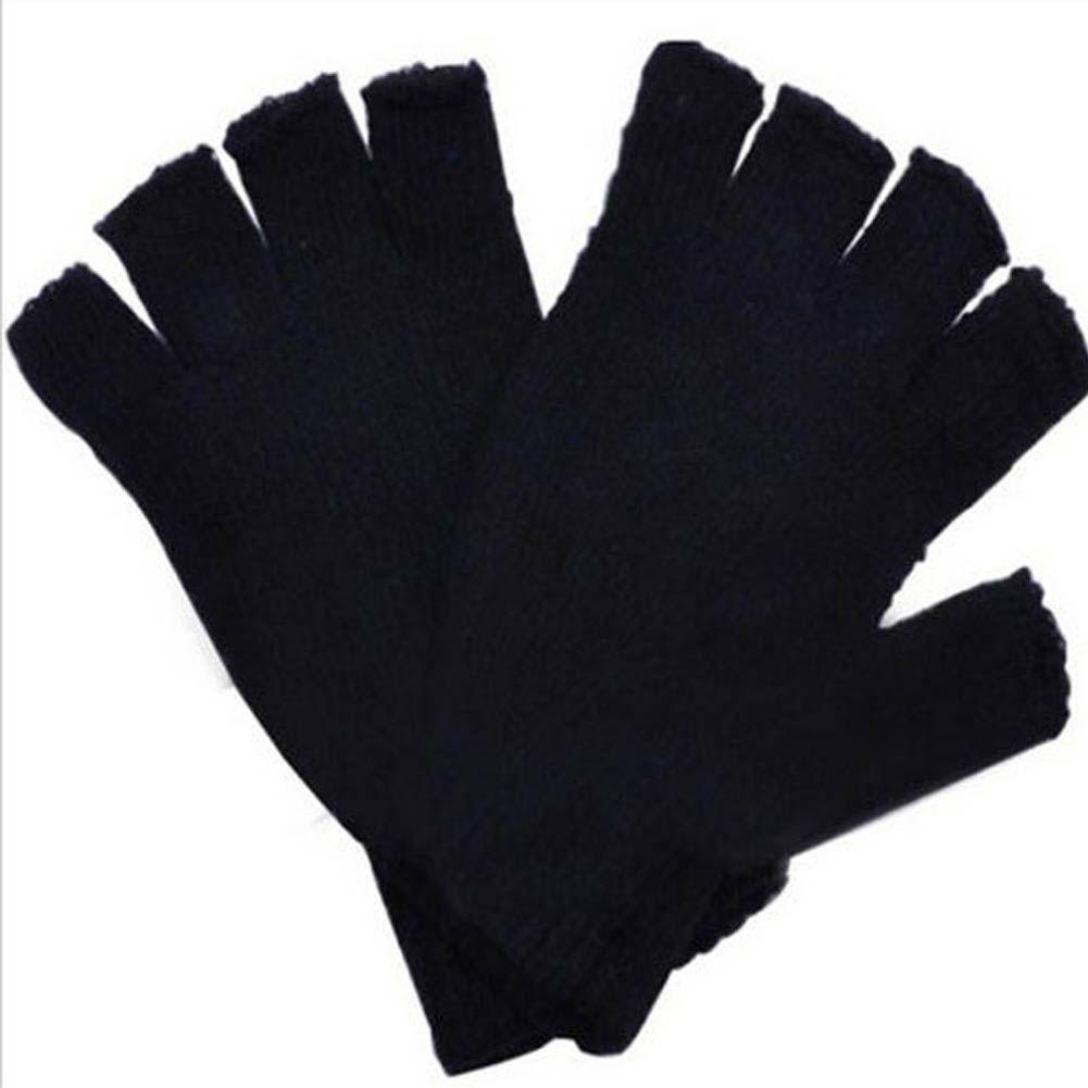 Men's Gloves Fashion Black Short Half Finger Fingerless Wool Knit Wrist Glove Winter Warm Gloves Workout For Women And Men Drop Shipping Reputation First