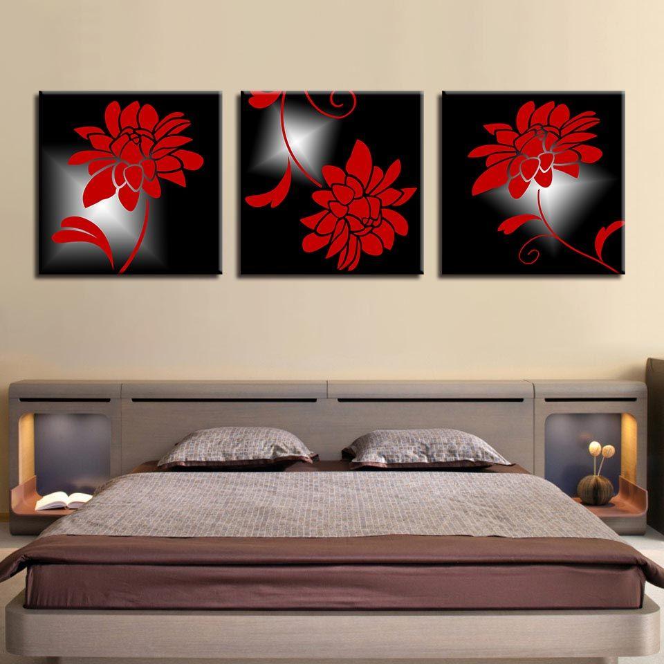 Acheter Peintures Décor À La Maison Toile Moderne Pour Salon Wall Art 3  Pièces Incroyables Fleurs Rouges Affiches HD Prints Cadre Photos De $5.42  Du ...