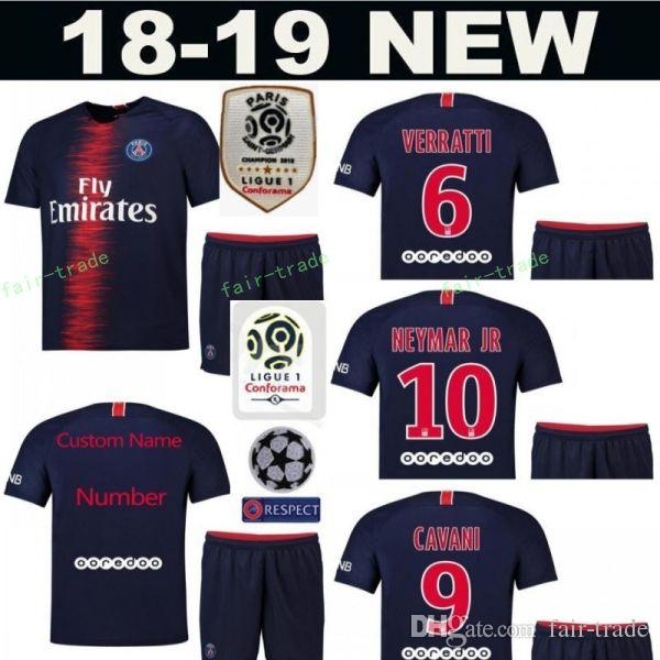 meet b926f 7f162 18 19 PSG FC Paris Saint Germain Soccer Jersey Set 10 NEYMAR JR 7 Kylian  Mbappe 9 Edinson Cavani Football Shirt Kits Uniform