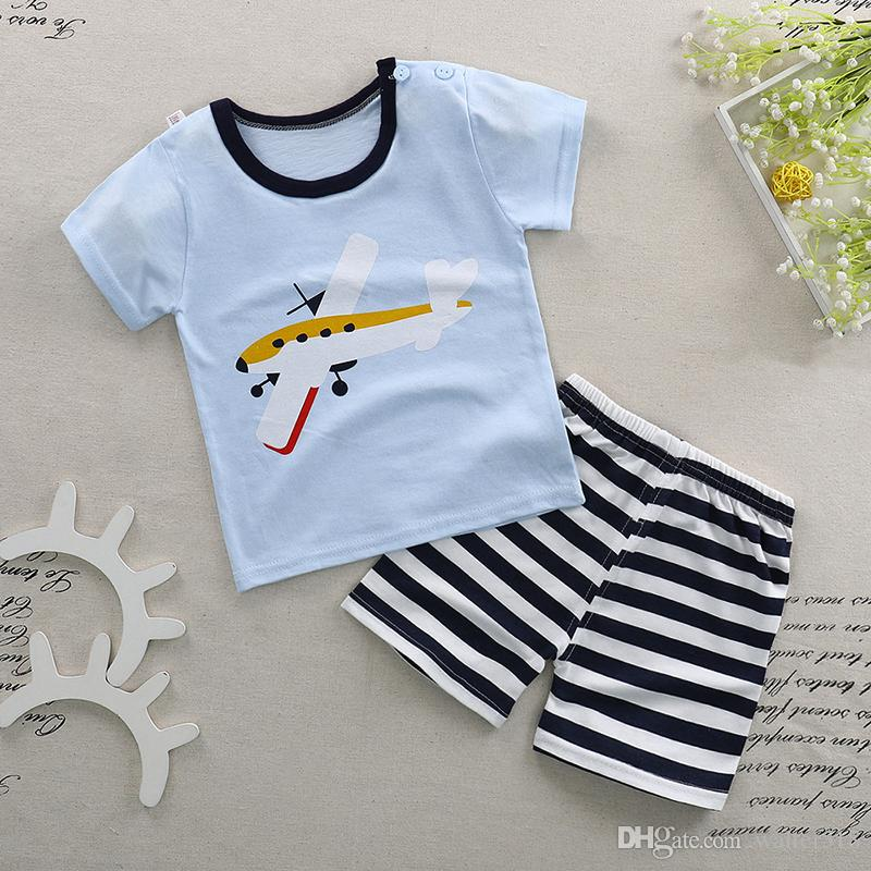 7e1335589f 2018 Boy Pajamas Kids Summer Clothing Children Underwear Cartoon Letter T  Shirts+Shorts Boys Sleepwear Kids Pajamas Sets BN 011 Warm Baby Pajamas Baby  Girl ...