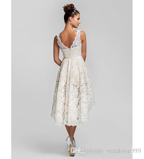 Short Lace Wedding Dresses With V Neck Backless A Line High Low Hot custom Made Charming Beach Garden Ivory Bridal Gowns