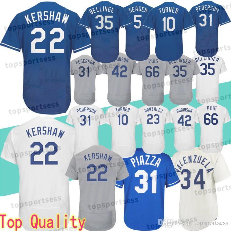 11d57145132 2019 Los Angeles Dodgers 22 Clayton Kershaw Jersey 5 Corey Seager 23 Adrian  Gonzalez 31 66 Yasiel Puig Baseball Jerseys From Mitasneakere2019