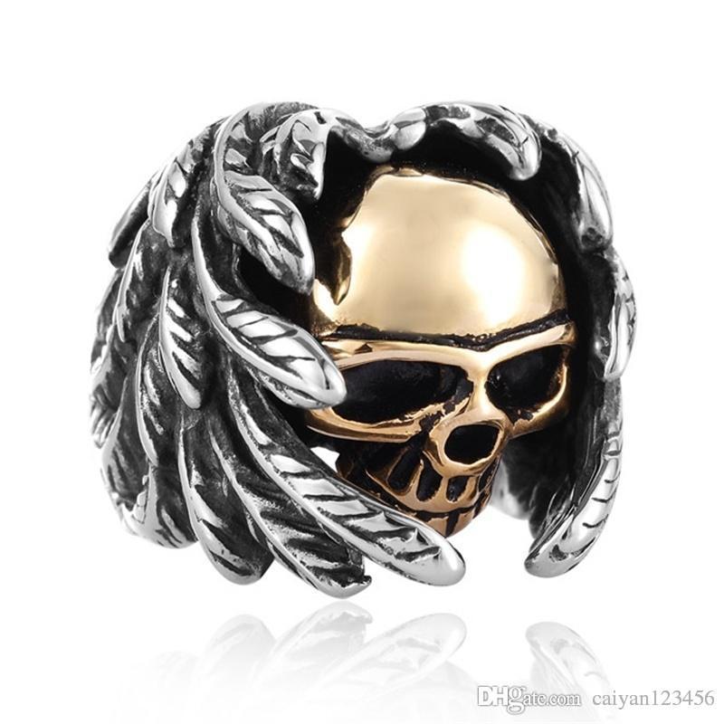 4b6f10b1ac8 Men s Ring Vintage Steam Punk Gothic Wings Skull Punk Ring Silver ...