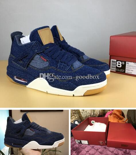 info for 37a92 97499 Denim 4s Jeans 4s Blue Denim Black White Top Quality With Box Men Size  Basketball Shoes Cp3 Shoes Kids Sneakers From Goodbox,  96.45  DHgate.Com