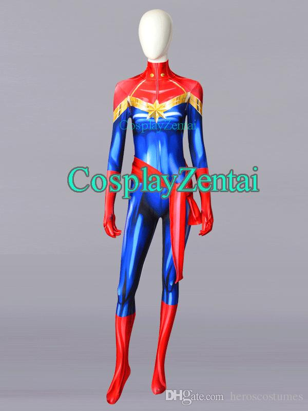 492588f8bc5 Hot Sale Ms. Marvel Carol Danvers 3D Printing Spandex Halloween Costumes  For Woman Zentai Suit Team Costume Themes Halloween Party Costume Themes  From ...