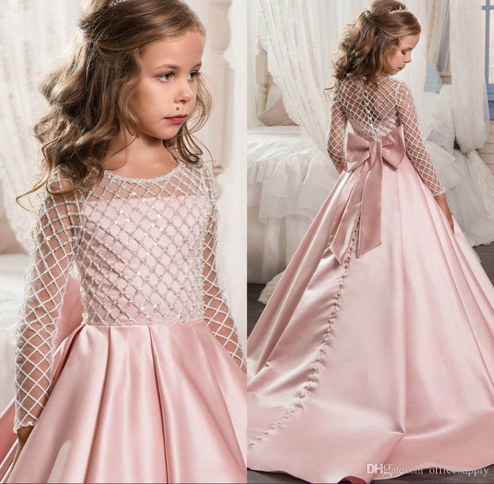161b00bbb New Long Sleeve Flower Girl Dress Vintage Lace Princess Kids Ball ...