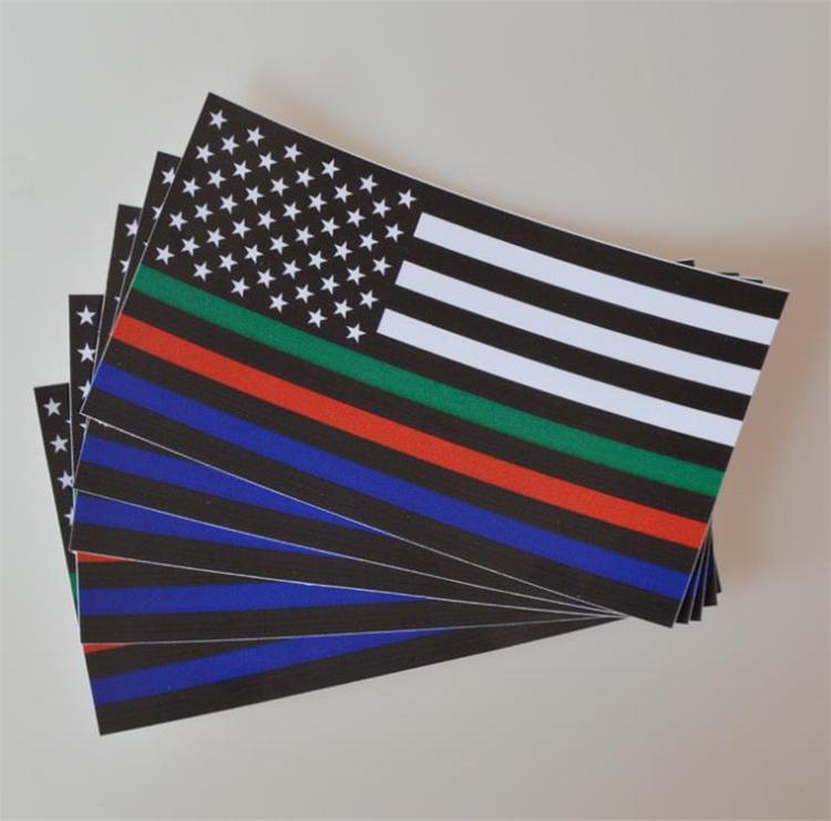 얇은 파란색 라인 플래그 데칼 - 6.5 * 11.5 cm 자동차 및 트럭에 대 한 미국 국기 스티커 - 벽 창 스티커 장식 스티커 I240