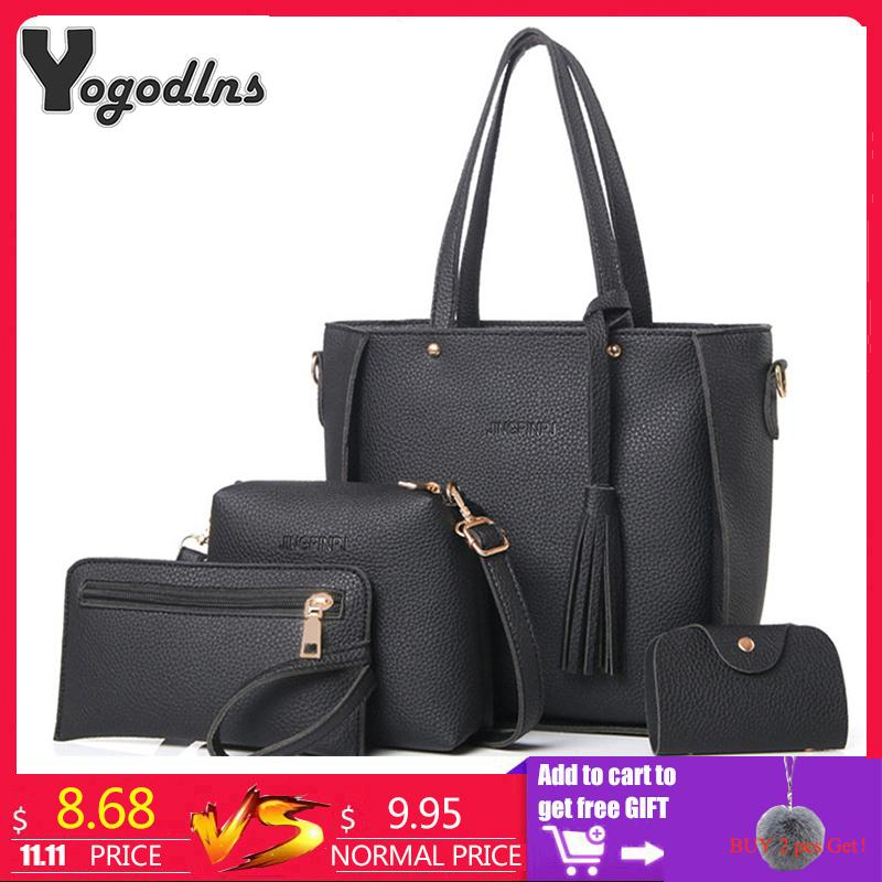 a4d20664ed3d5 2019 Fashion Women Bag Set Top Handle Big Capacity Female Tassel Handbag  Fashion Shoulder Bag Purse Ladies PU Leather Crossbody Bag Italian Leather  Handbags ...