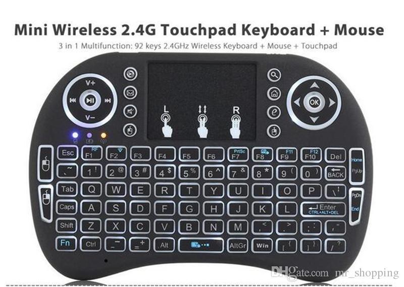 Mini i8 Wireless Keyboard 2,4 GHz mit blau rot grün Hintergrundbeleuchtung Fernbedienung Touchpad für Android TV Box Tablet