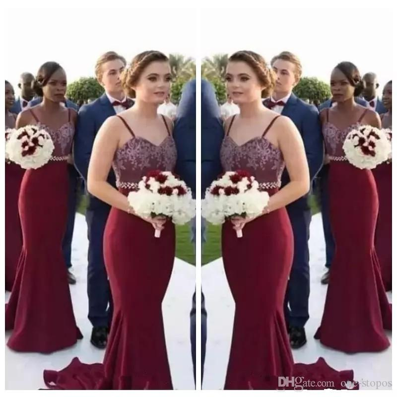 7fa3e1ac633 2018 Elegant Burgundy Bridesmaid Dresses Spaghetti Straps Lace Appliques  Beaded Sash Mermaid Wedding Party Gowns Sweep Train Fuschia Bridesmaid  Dresses ...