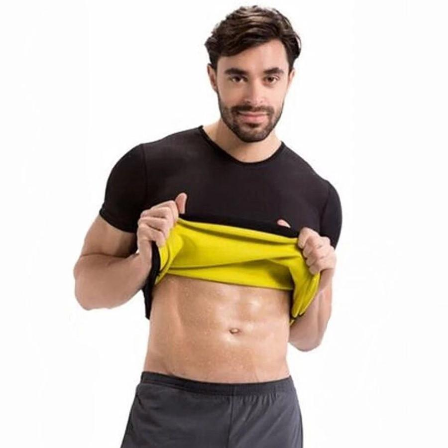 2026851587 2019 Men Hot Shapers T Shirt Neoprene Slimming Vest Body Shaper Short  Sleeve Waist Trainer Corset Super Stretch Shapewear T Shirt From  Zhoukoujean