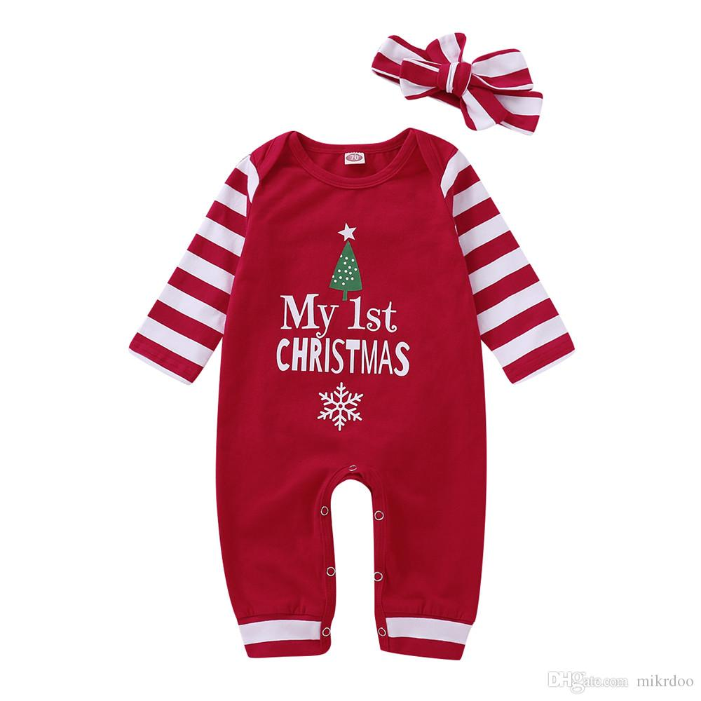 f17ab7504 2019 Ikrdoo Toddler Newborn Baby Boys Girls My 1st Christmas Letters Romper  Clothes Red Striped With Headband Long Sleeve Jumpsuit From Mikrdoo, ...