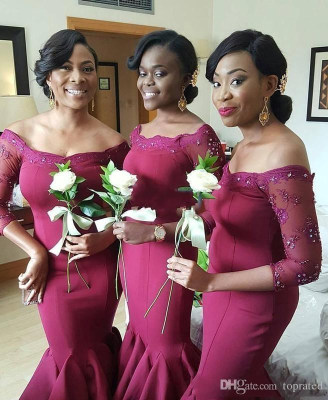 2018 South African Style Burgundy Bridesmaid Dresses Off Shoulders Lace 3/4 Sleeves Mermaid Maid of the Honor Dresses with Tiers Skirt