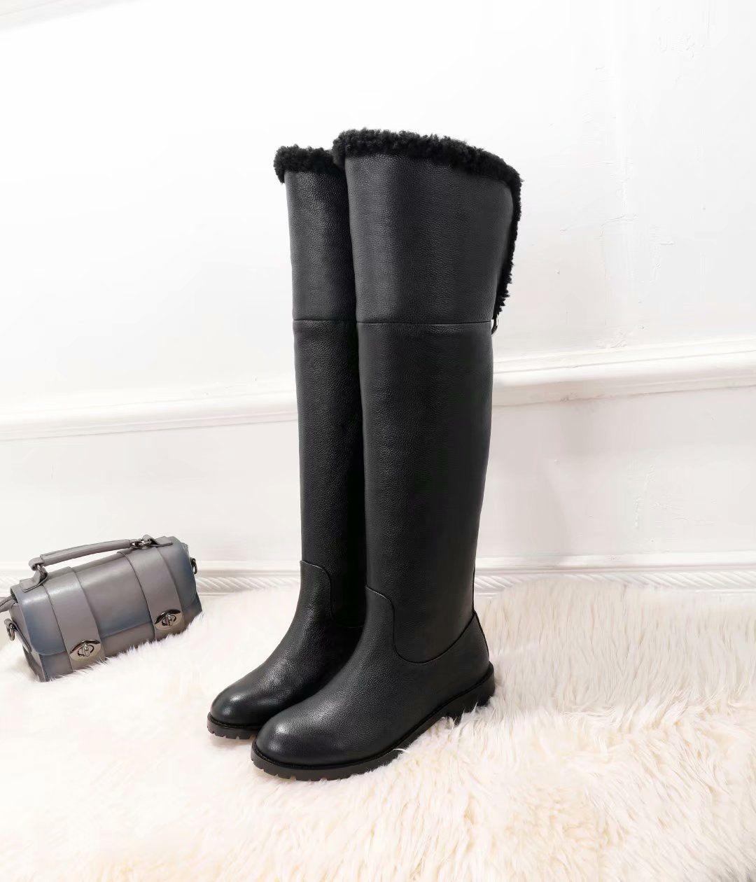 c6afe549d0e Compre Moda Caliente Invierno Forro De Piel Negro Muslo Botas Altas Mujeres  Tacón Plano Señoras De Invierno Botas Cálidas De Invierno Moto Zapatos A   205.28 ...
