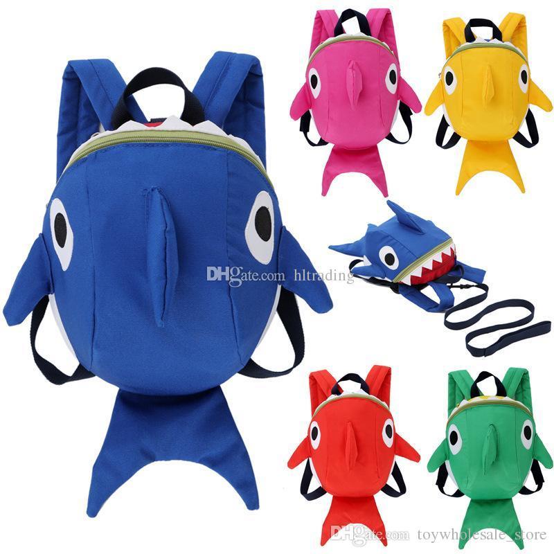 a3422b4de40c Kids Anti-lost Shark Backpacks Cartoon Animals Anti Lost ...