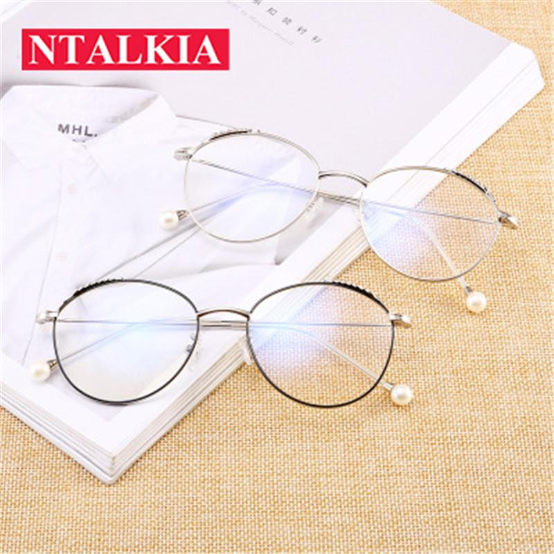 2018 New Fashion Pearls Eyeglasses Frame Clear Glasses Women Round ...