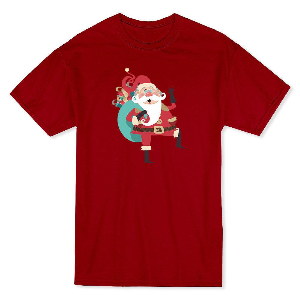 8c49f1a1a781 Santa Claus Walking With Christmas Presents Bag Men S Cardinal Red T Shirt  Funny Print T Shirts Shopping T Shirt Online From Mildeast