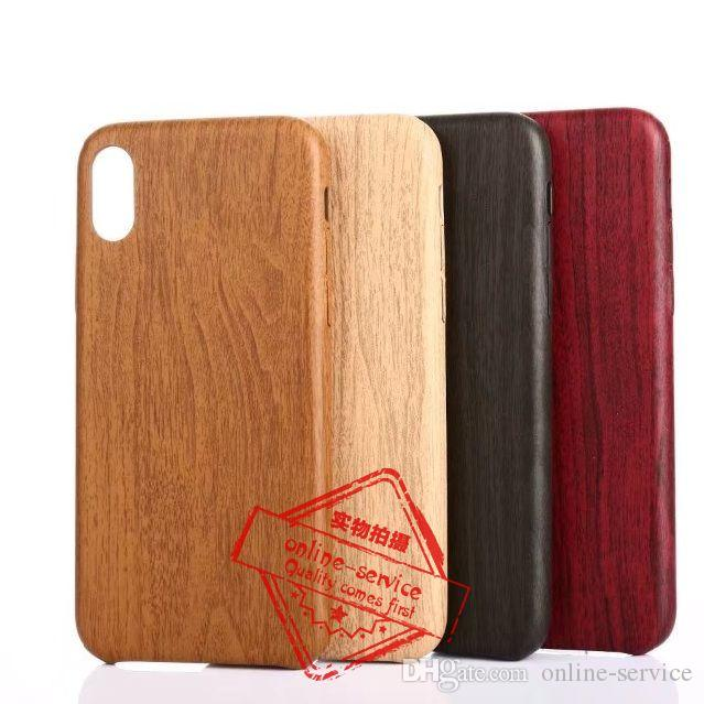 separation shoes 3b291 0a255 For iphone x Ultra Thin Leather Soft Case Wood Wooden Grain Back Cover Shell
