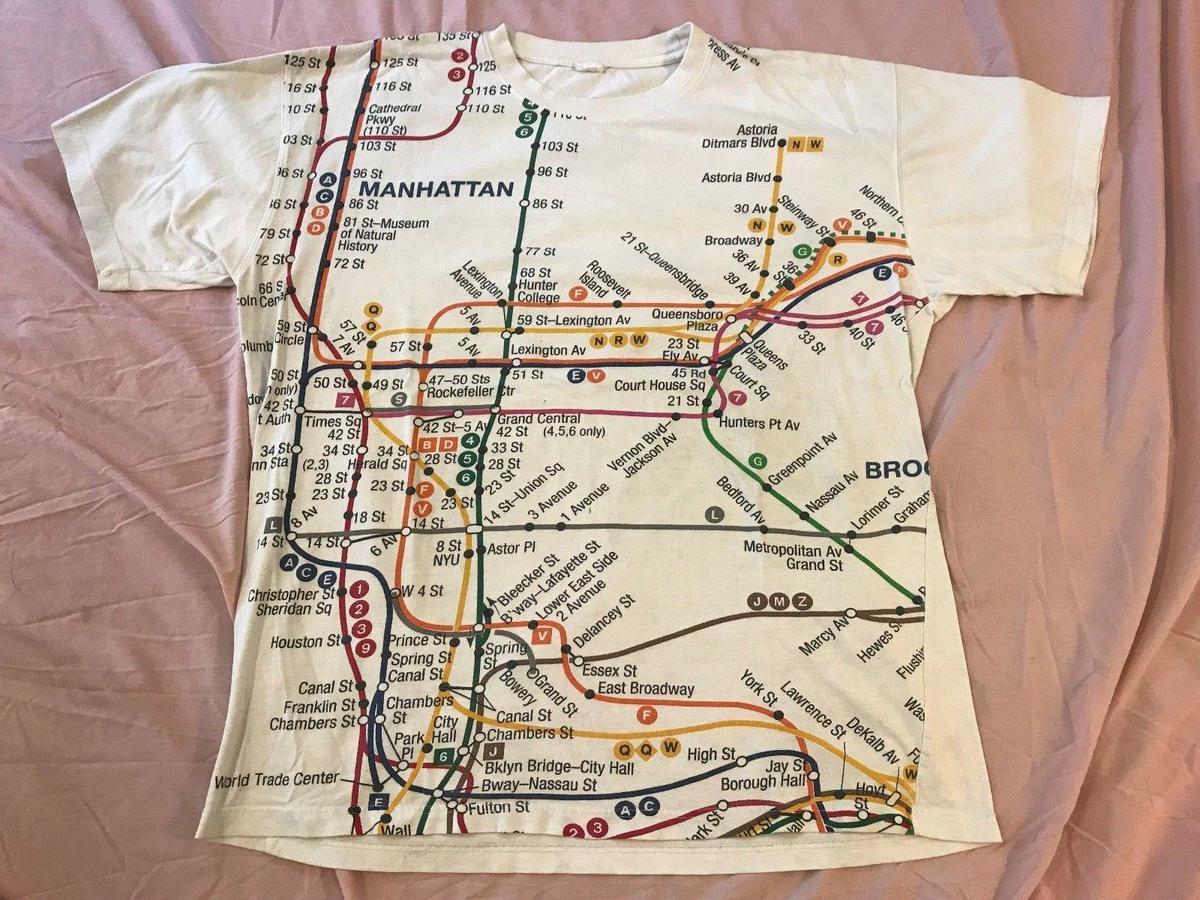 Nyc Subway Map Shirt.Vintage 90s Nyc New York Subway Line Map Distressed Graphic T Shirt Adult Sz 2xl