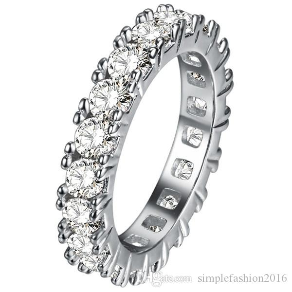 3 renkler Marka Jewery Kadınlar yüzük 925 ayar Gümüş Yuvarlak Gem Elmas kadınlar için cz Düğün Parmak band Yüzük