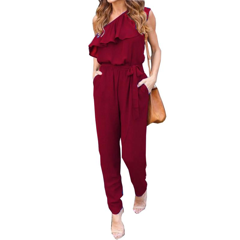 4437d09ad6d 2019 Ruffles Chiffon Jumpsuits Plus Size Overalls Summer Women Sexy Casual  One Shoulder Long Playsuits Rompers Womens Jumpsuit GV608 From Honey111