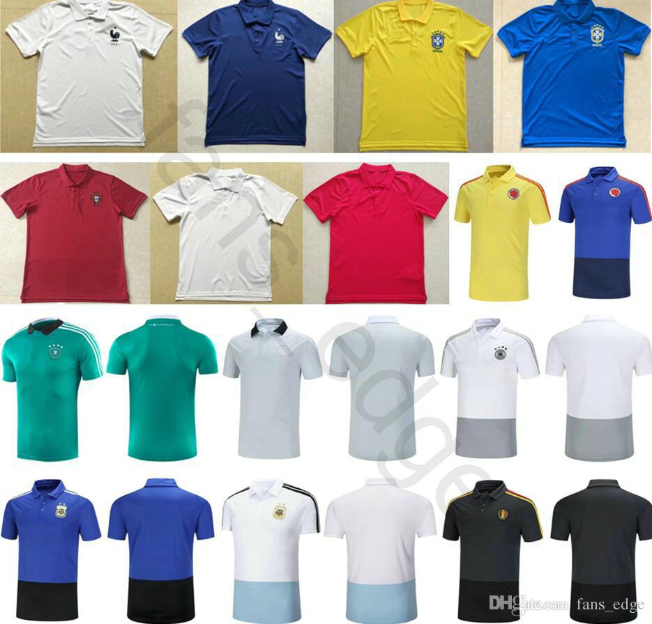 7a17bf2fe14 ... 2018 world cup soccer polo shirt france portugal england colombia  germany belgium argentina home awa