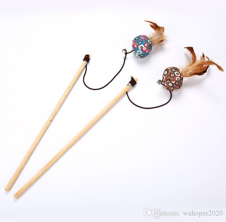 cat playing toys fishing pole cat teaser sticks wooden balls mouse fish mixed colors