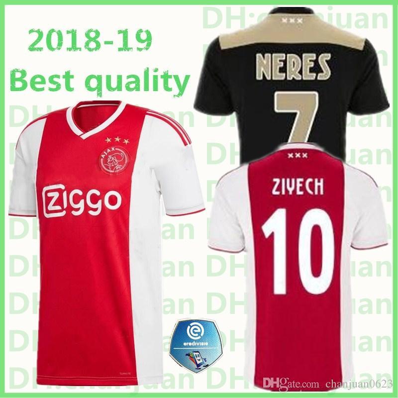 0886f7ee4 2018 Ajax Ziyech Soccer Jersey 2018 2019 Away Home Nouri Dolberg Younes Huntelaar  Van De Beek Sanchez Football Shirt From Chanjuan0623