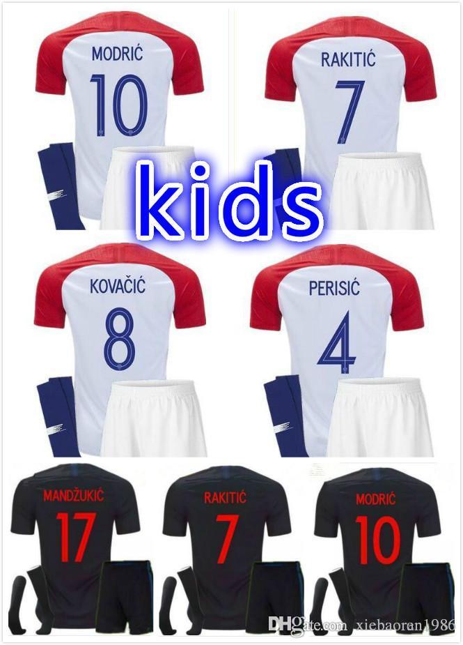 Kids Croacia MANDZUKIC Hrvatska MODRIC Football Kit Shirt PERISIC ... f3d233f55