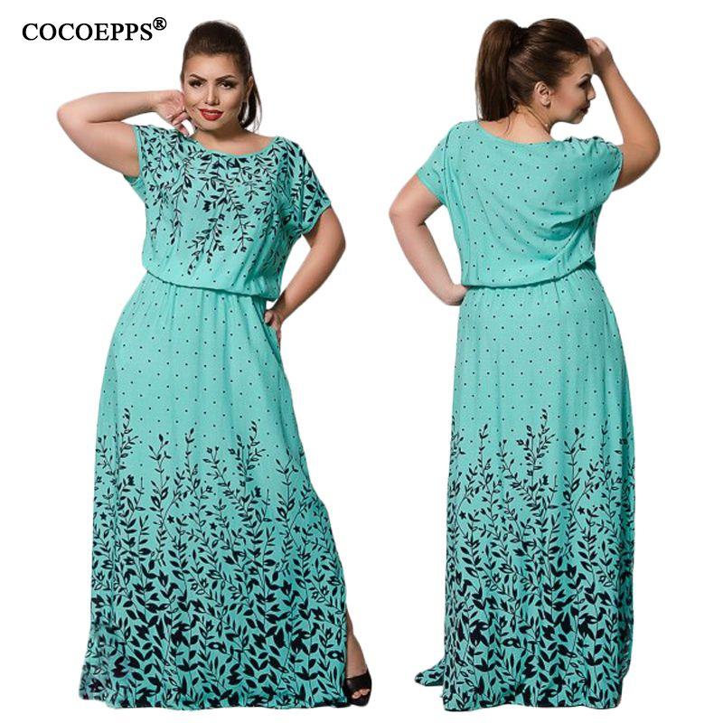 dc1eb34b2e30 Acquista Vintage 6XL Grandi Taglie Maxi Abiti Lunghi Donna Abbigliamento  Moda Abito 2018 Summer Evening Party Plus Large Size Dress Vestidos  D1891209 A ...