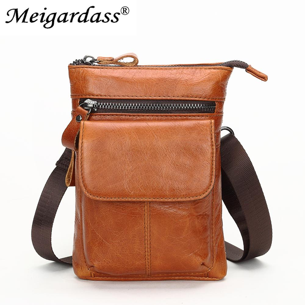 MEIGARDASS Genuine Leather Men Waist Pack Small Shoulder Bags Fashion Men's Belt Waist Bag Phone Pouch Male Fanny Pack Purse