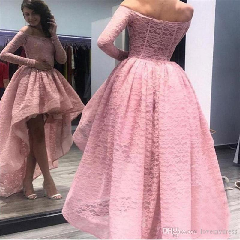 bfc31cbf0dd Dusty Rose High Low Cheap Prom Dresses Off The Shoulder Illusion Long  Sleeves Lace Bodice Ruched Evening Formal Pageant Dress Cheap Gowns  Bridesmaid Prom ...