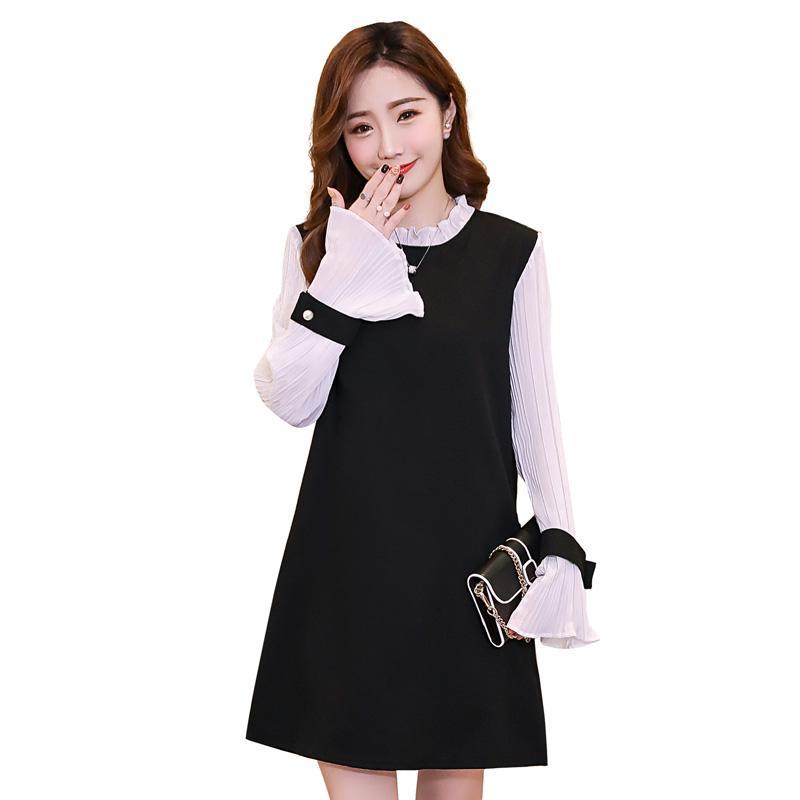 2019 Pengpious 2018 Autumn Maternity Clothes Korean Style Sweet Pregnant  Women Dress Office Lady Elegant Dress Pleated Sleeve Sweet From Paradise02 c923ac55fc4e