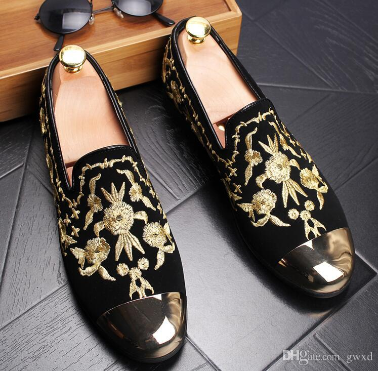 2018 New Man Fashion Suede Leather Loafers Mens Printed Embroidery Driving Party Flats Men's Slip-On Moccasins Oxfords Casual Shoes G205