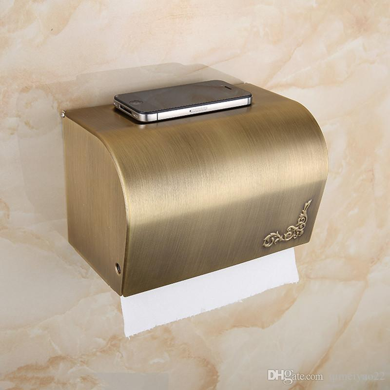 Antique Toilet Paper Holder Wall Mounted Bathroom Tissue Box Waterproof Toilet Roll Paper Tissue Box Brass Bathroom Accessories