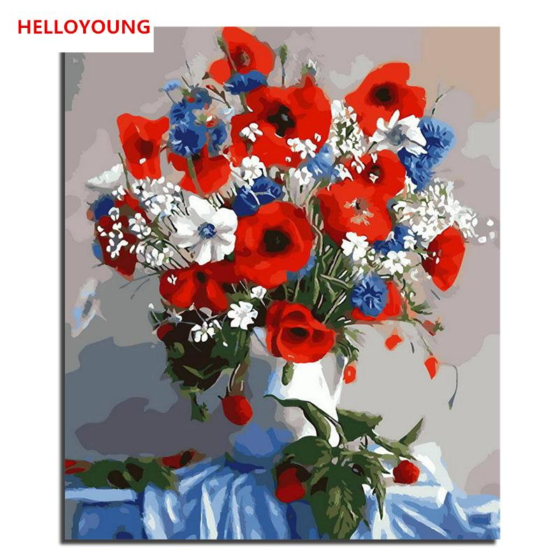 2019 Helloyoung Handpainted Oil Painting Pretty Flower Digital