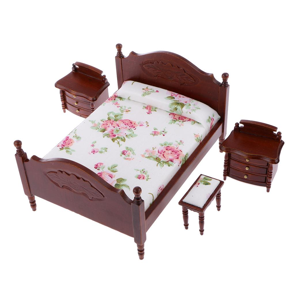1 12 Scale Dollhouse Miniature Bedroom Furniture Bed Bedside Tables