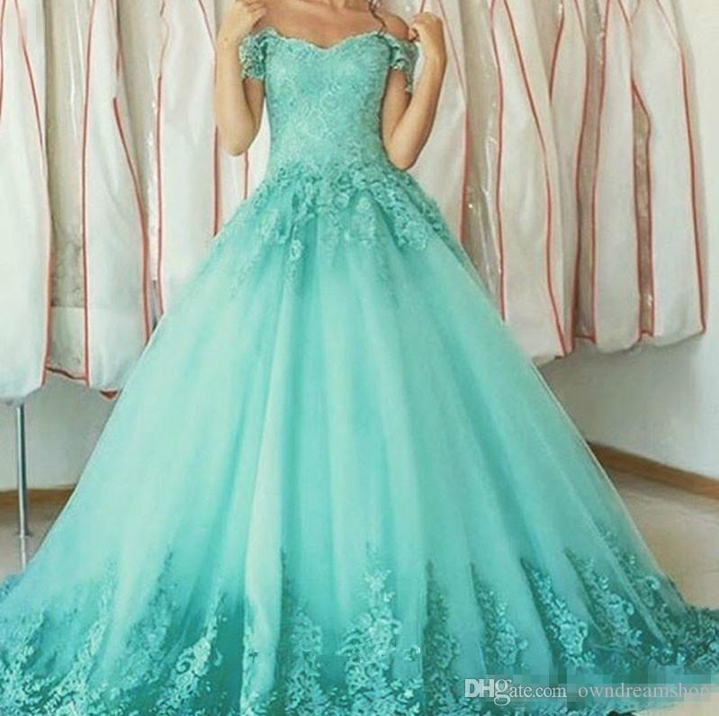 Vintage Mint Green Long Prom Dresses 2018 V Neck Cap Sleeves Bandage Lace Quinceanera Gowns Sweet 16 Dress From China