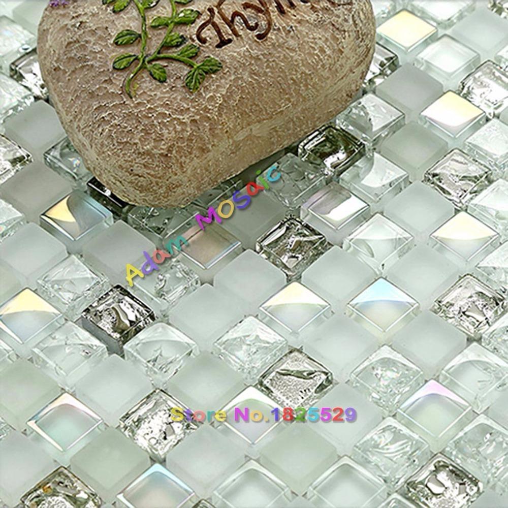 Großhandel Transparentes Weißes Glasmosaik Deckt Silberne Backsplash Küchen  Schillernde Fliesen Badezimmer Wand Dekor Blätter Mit Ziegeln Von Hobarte,  ...