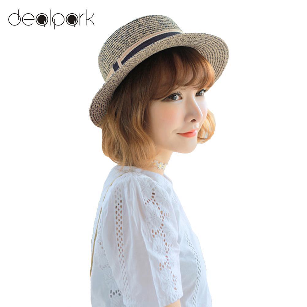 6b7001f70049e New Fashion Elegant Women Straw Hat Ribbon Trim Wide Brim Summer Sun Beach  Holiday Cap Fedora Trilby Hat Bucket Hat Fedora Hat From Heheda1