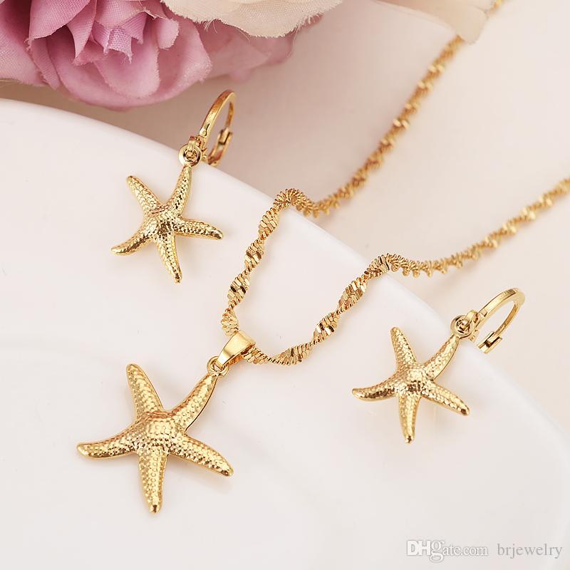 8ee263ba Collar de oro Pendiente Conjunto de Regalo de Las Mujeres de las estrellas  de mar Conjuntos de Joyas desgaste diario regalo de la madre diy encantos  ...