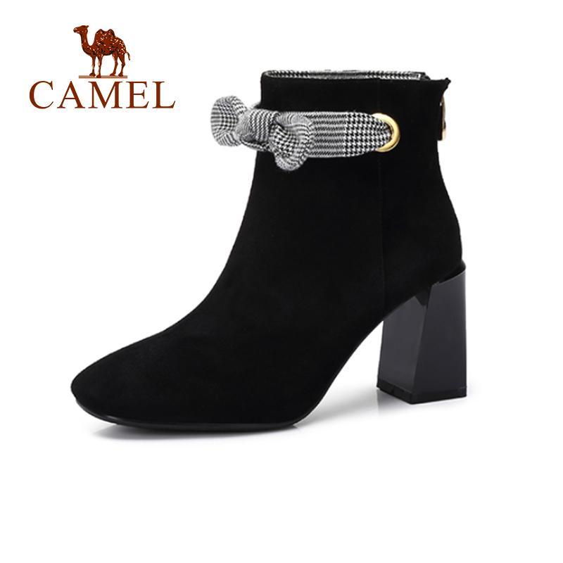 ee3444eb1 Compre CAMEL Mujer Botas De Tacón Alto 2018 Nueva Moda Casual Color Negro Botas  De Tacón Grueso Zapatos De Mujer Zapatos Para Niñas A  71.75 Del Karinton  ...