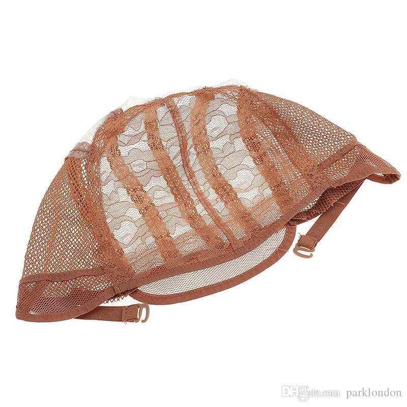 Casquettes de perruque pour faire des perruques bretelles réglables dos suisse en dentelle pleine avant lacet cap