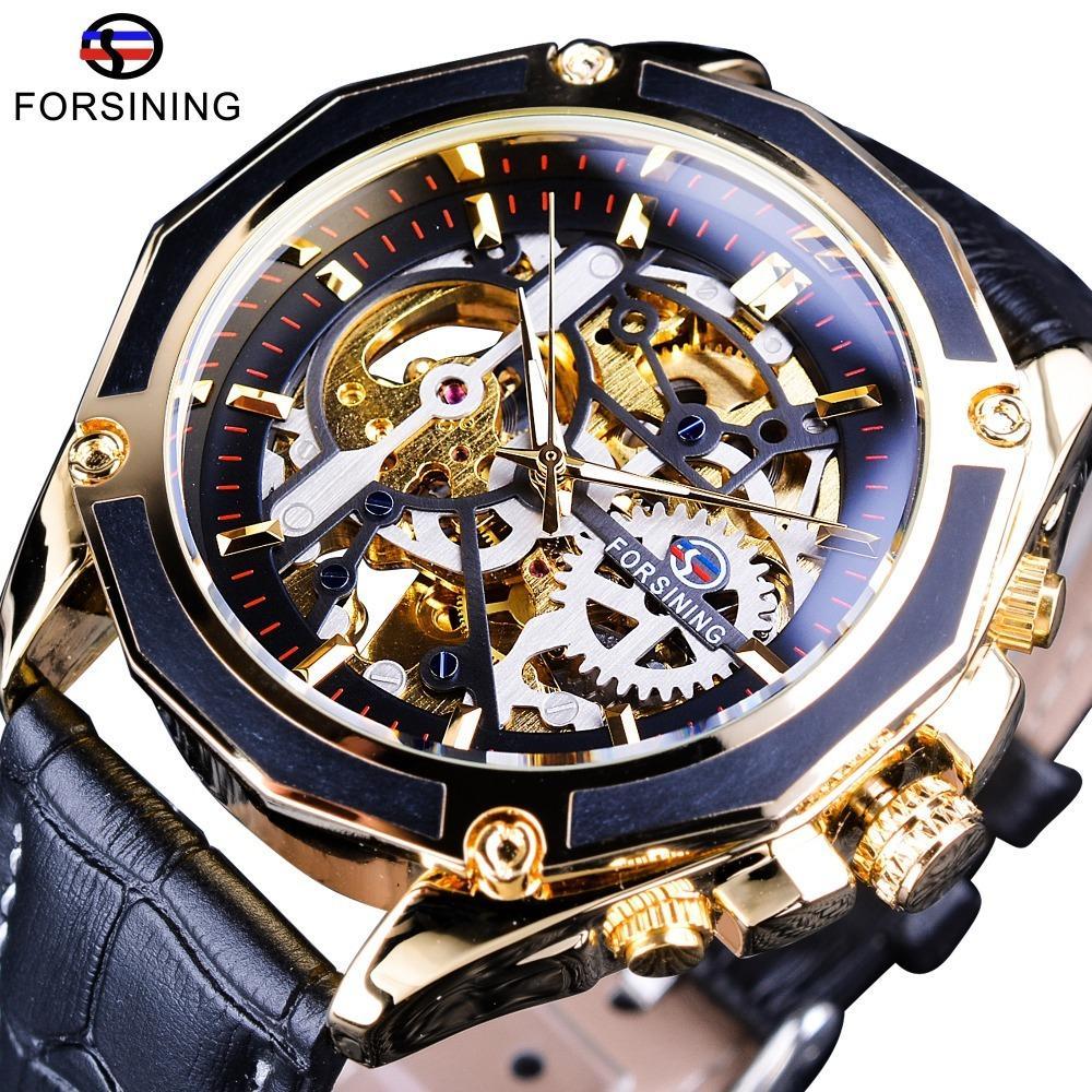 dceff4a78fa Compre Forsining Luxo Open Work Series Transparente Caso Auto Liquidação  Relógios Automáticos Homem Relógio Esqueleto Relógios Top Marca De Luxo  S923 De ...