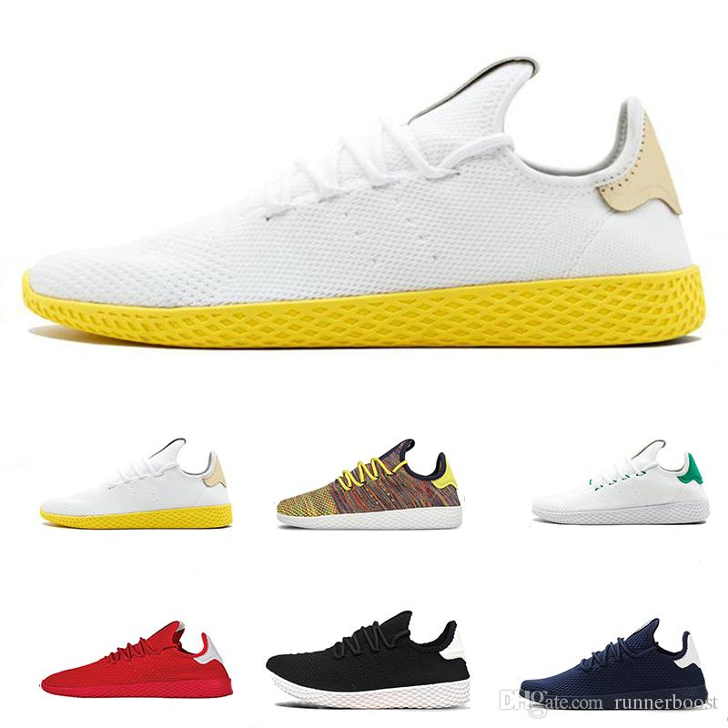 online retailer a3070 94566 Pharrell Williams X Stan Smith Running Shoes Men Women White Red Tennis Hu  Primeknit Sneaker Breathable Runner Sports Shoes Eur 36 45 Best Shoes For  Running ...