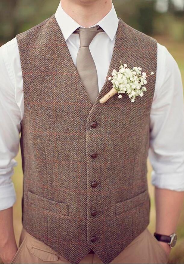 Ucuz Satış 2021 Kahverengi Tüvit Yelek Yün Herringbone Damat Yelek Erkek Takım Elbise Yelekler Slim Fit Erkek Elbise Yelek Özel Düğün Yelek