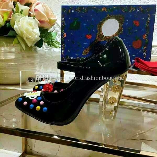 2018 mary jane designer dress shoes handmade genuine leather women fashion wedding shoes crystal high heel party evening sexy pump heels