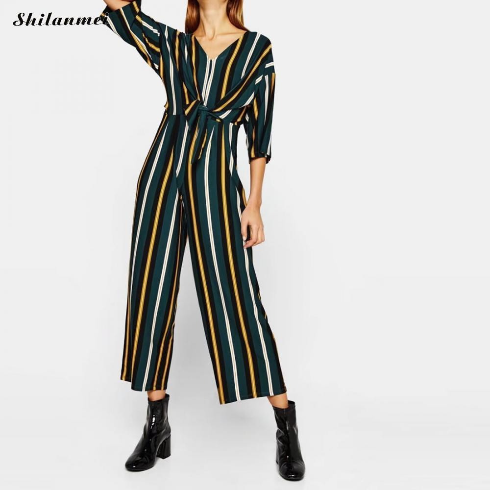 e0997219b76 2019 Wholesale 2018 Rompers Womens Jumpsuits Casual Vintage 3 4 Sleeve  Casual Loose Green Printed Striped Overalls Playsuits Bandage Bodysuits  From ...