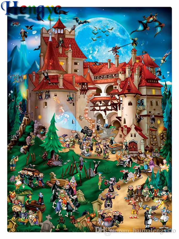 Rhinestone full round diamonds embroidery cartoon Fairy tale castle 5D diy diamond painting cross stitch kit home mosaic decor gift yx2250
